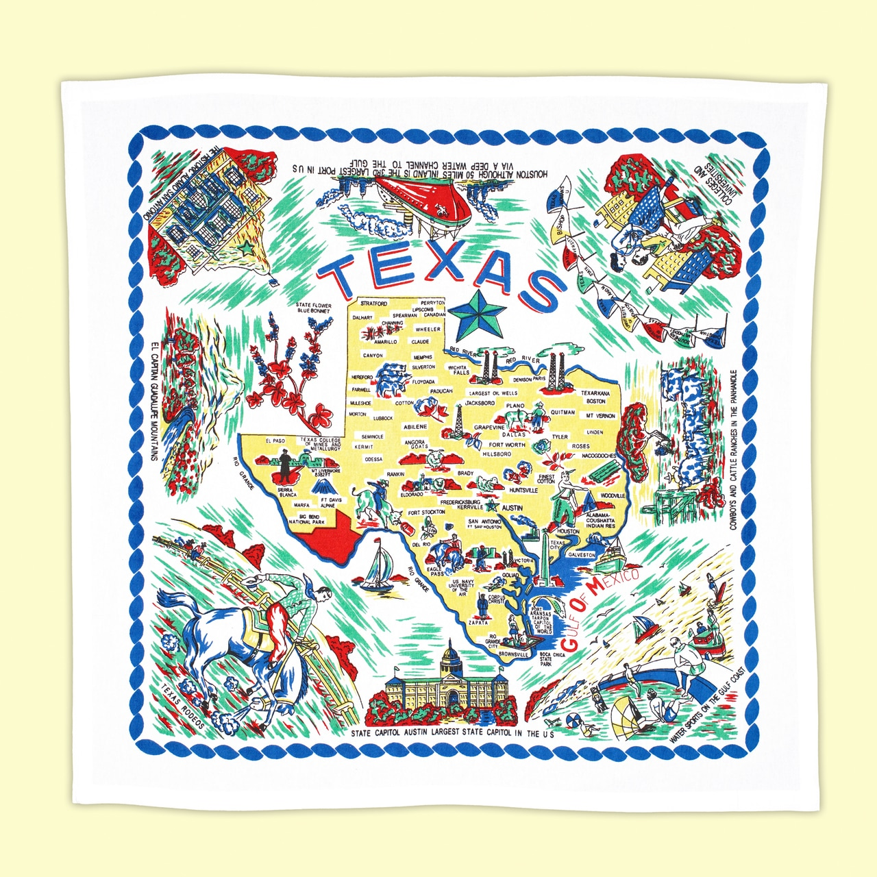 Expanded view of Yellow Texas Map dishtowel