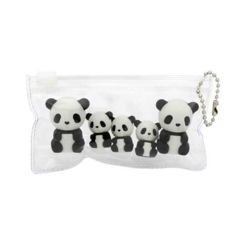 Panda Family Eraser Set in pouch