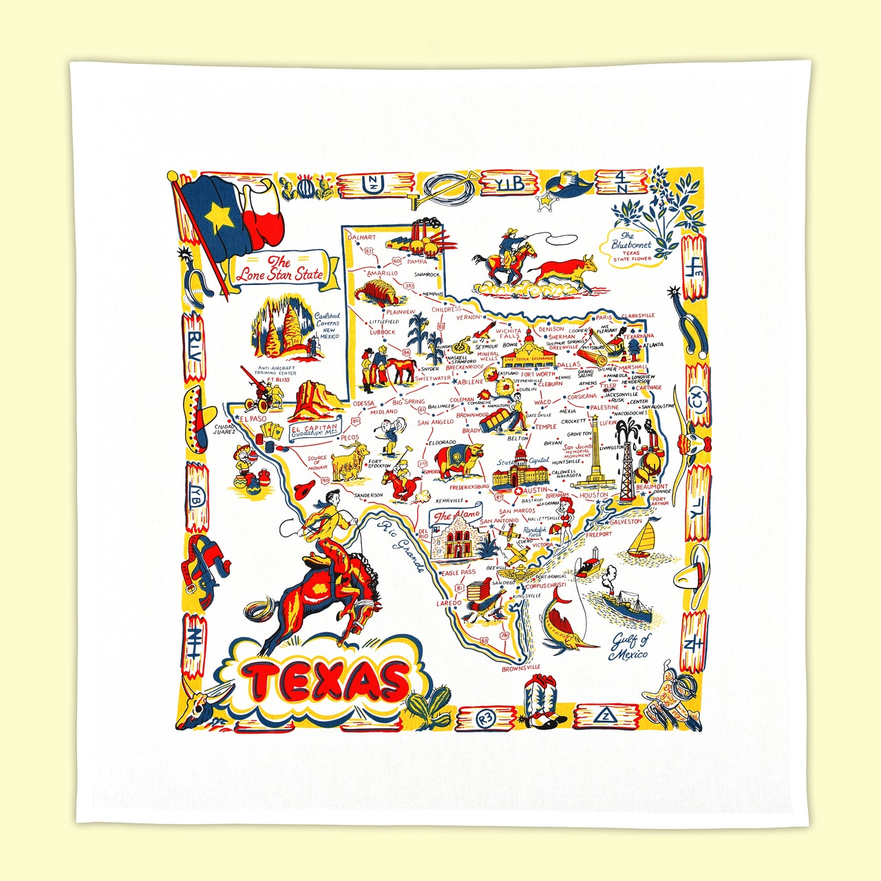 Expanded view of Texas Map Dishtowel