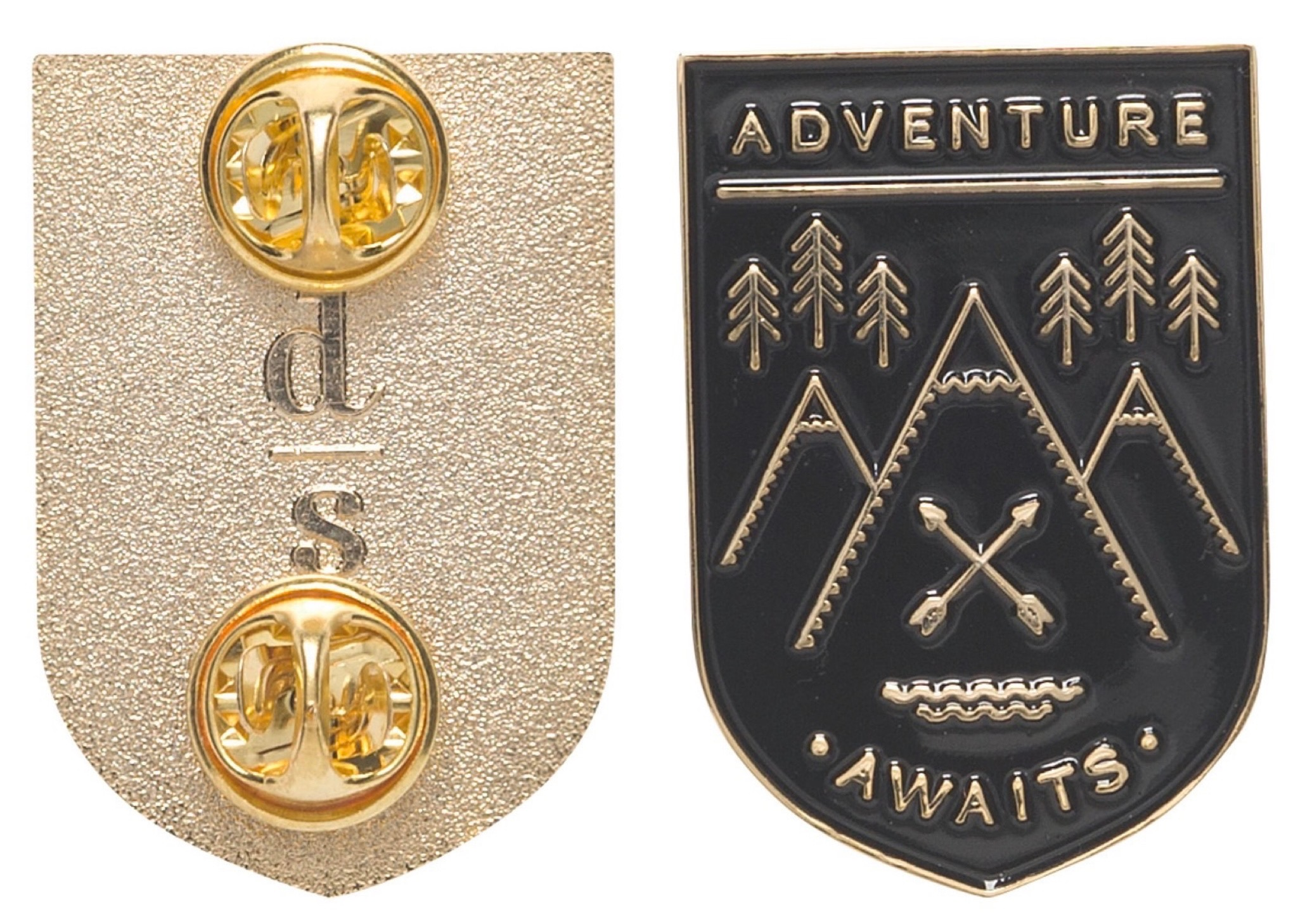 Front and back views of Adventure Awaits Pin