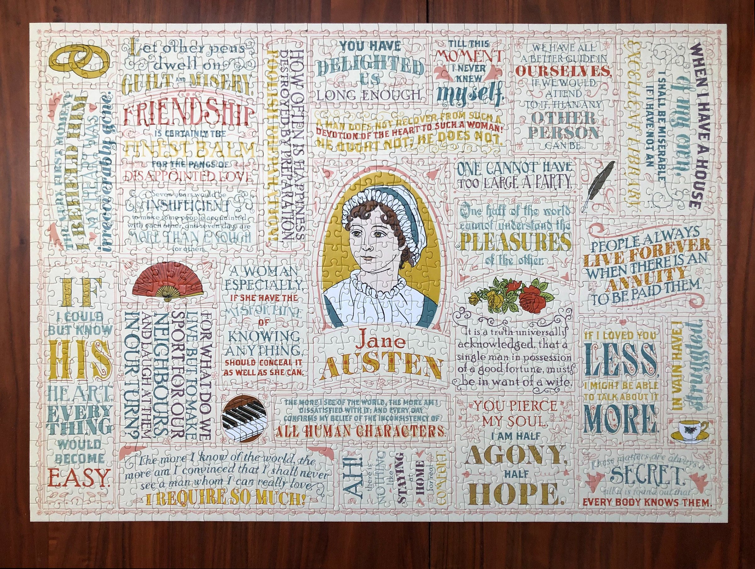 Jane Austen Literary Lines 1000 Piece Puzzle Completed