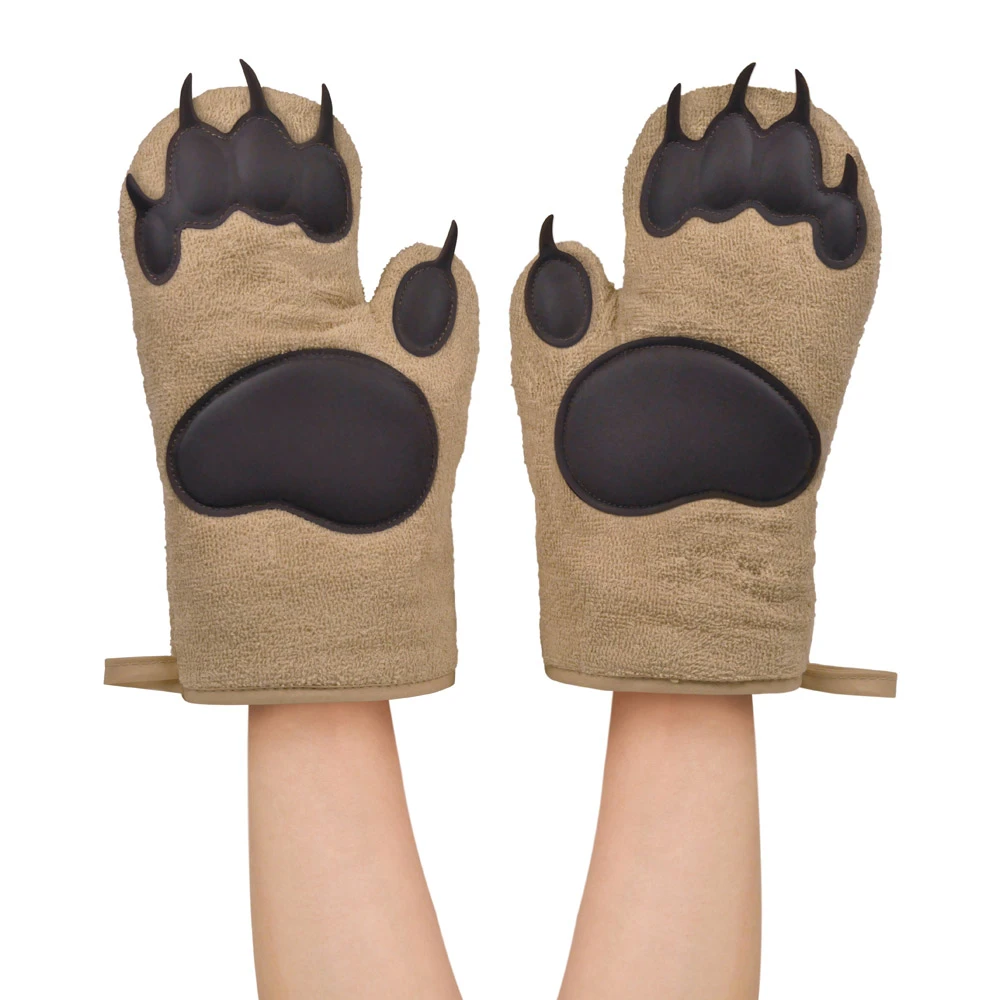 Wearing Bear Hands Oven Mitts