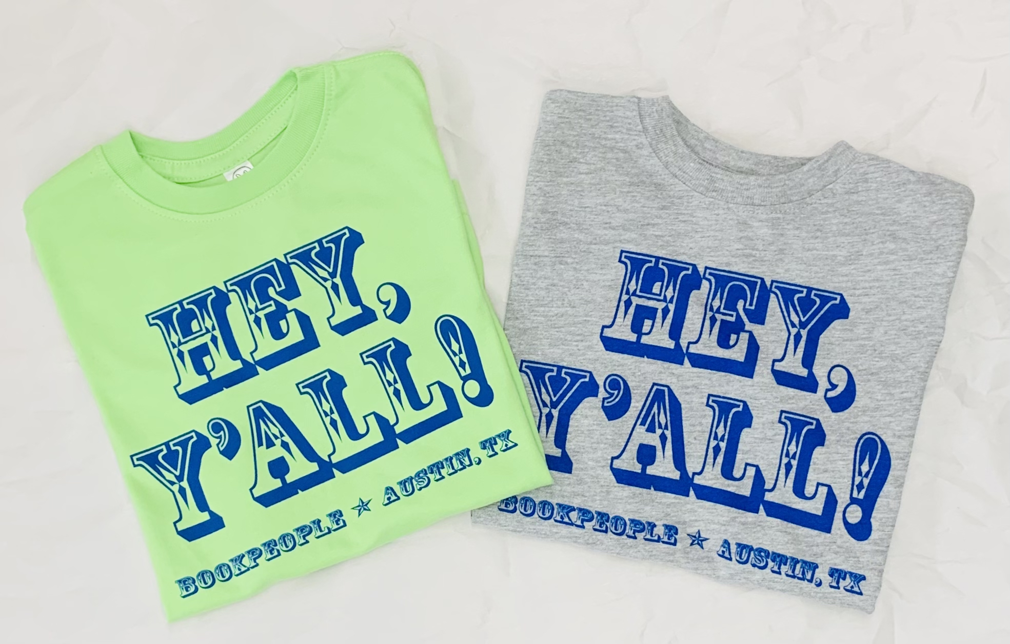 BookPeople Hey Y'all Kids T-Shirts in Key Lime Green and Heather Gray