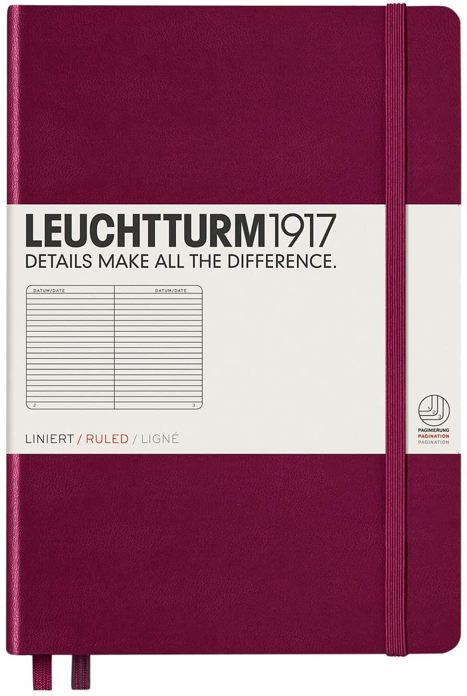 Port Red Leuchtturm Ruled Hardcover Notebook Medium