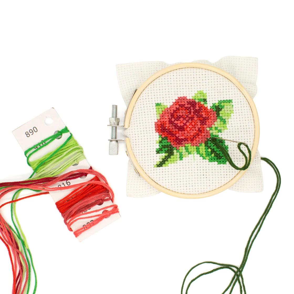 Rose Mini Cross Stitch in the making
