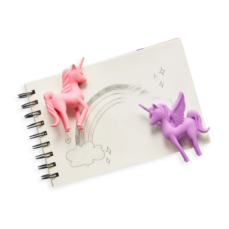 Unicorn erasers in action