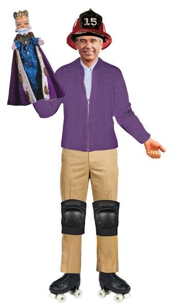 Mr. Rogers dressed in a magnetic outfit