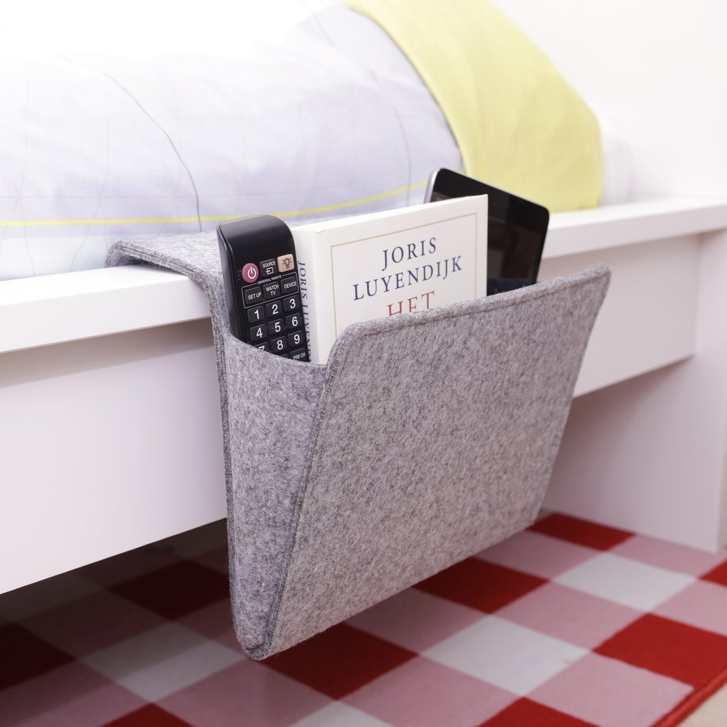 Felt Bedside Caddy in action