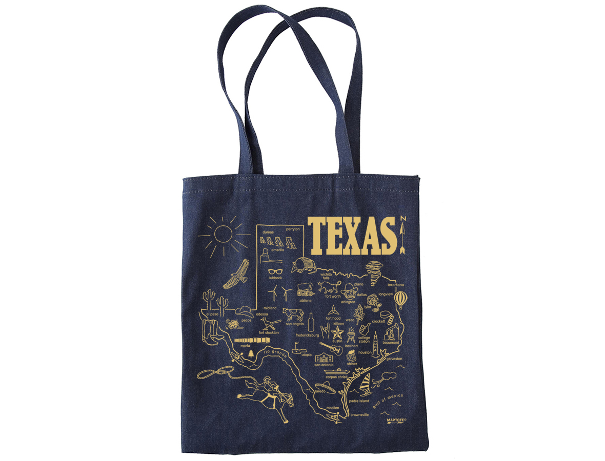 Texas Map Denim Tote Bag