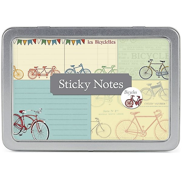 Vintage Bicycles Sticky Notes in tin