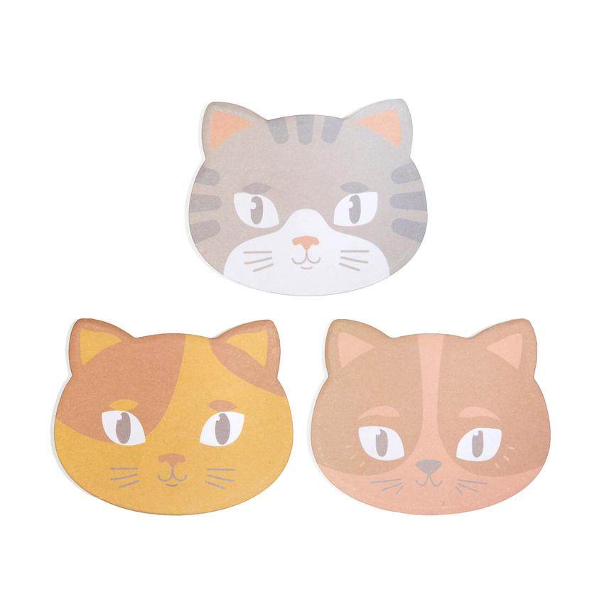 3 color options for Kitty Cat Sticky Notes