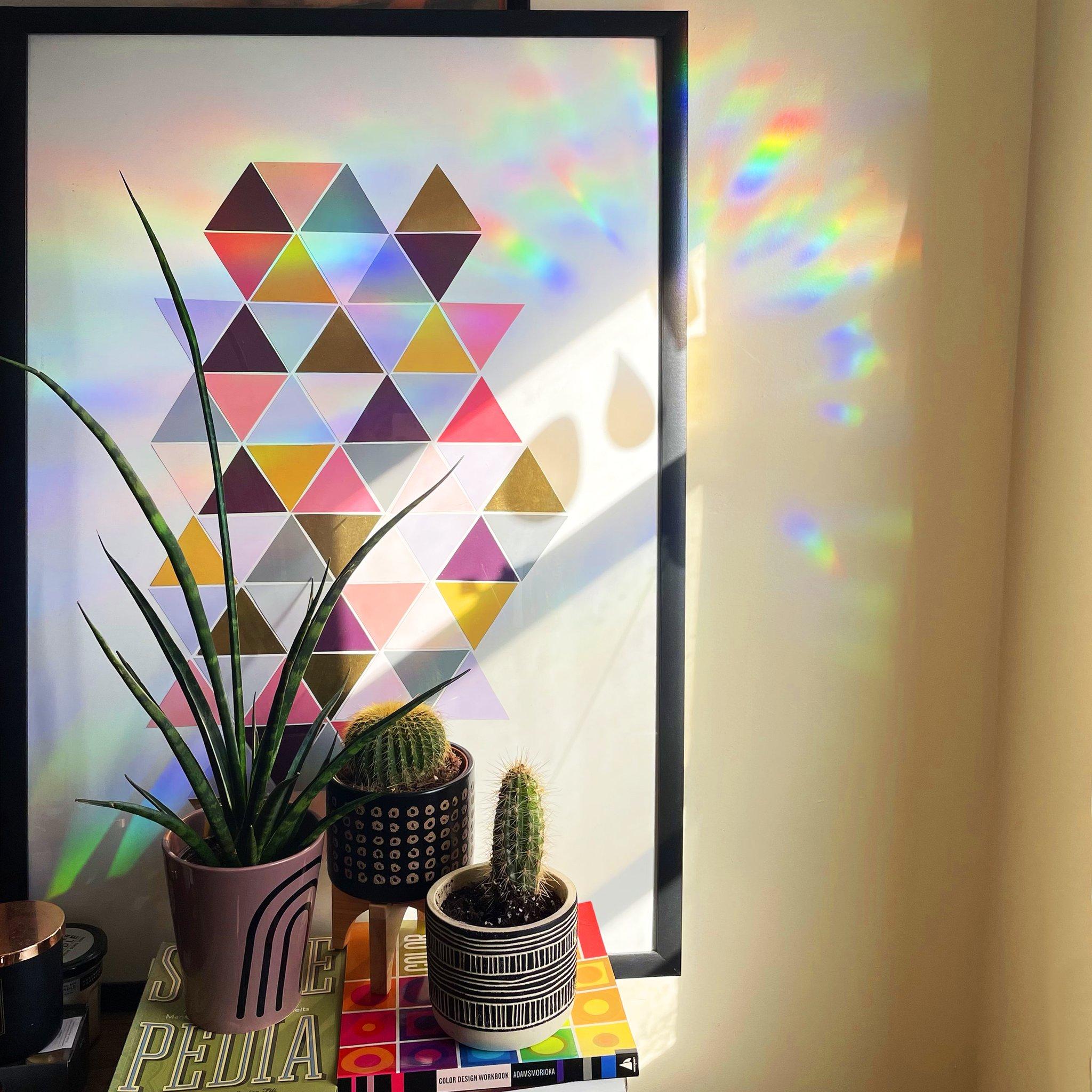 Color Wheel Rainbow Suncatcher Sticker in action