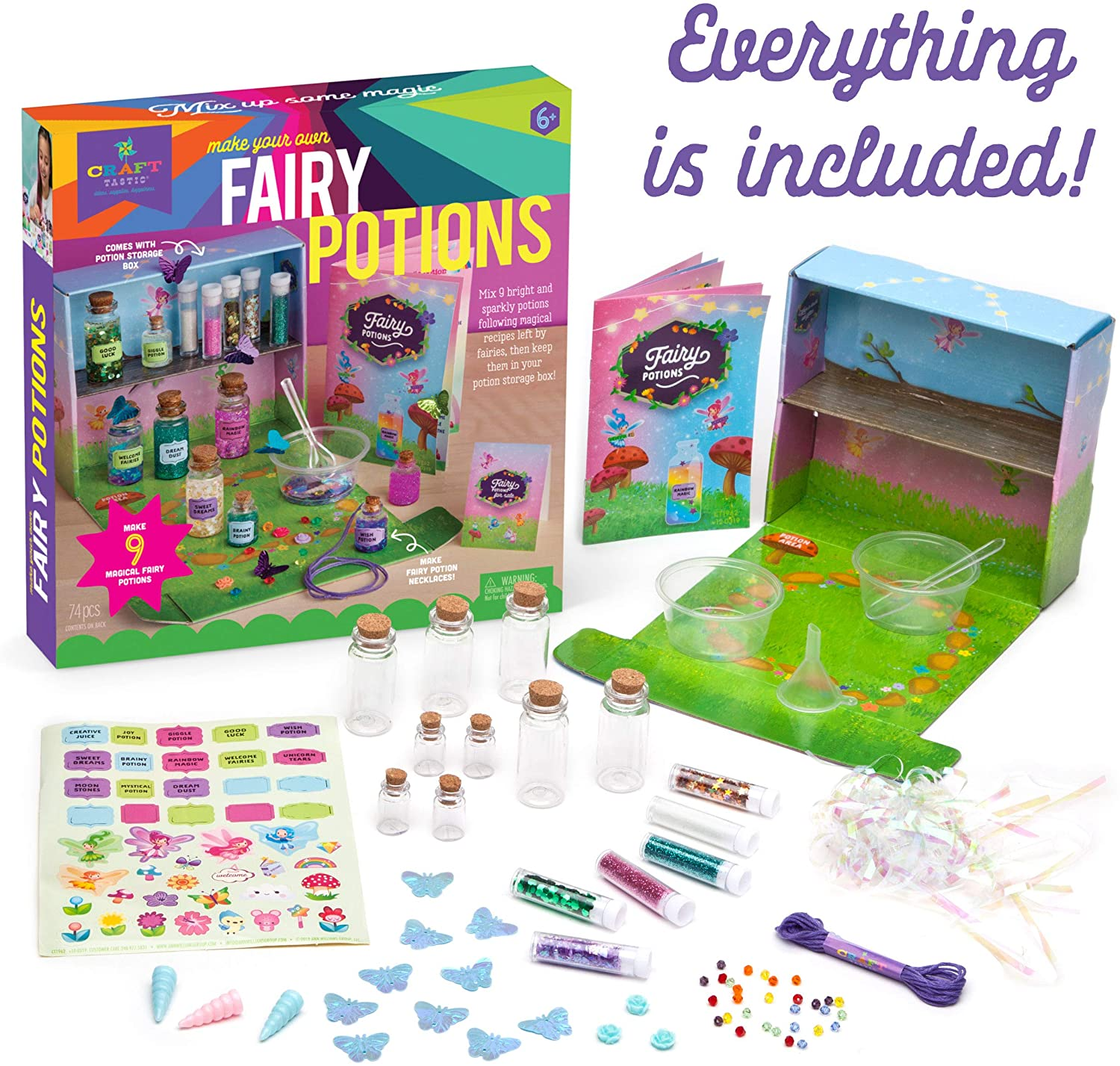 Materials included in Fairy Potions Craft Kit