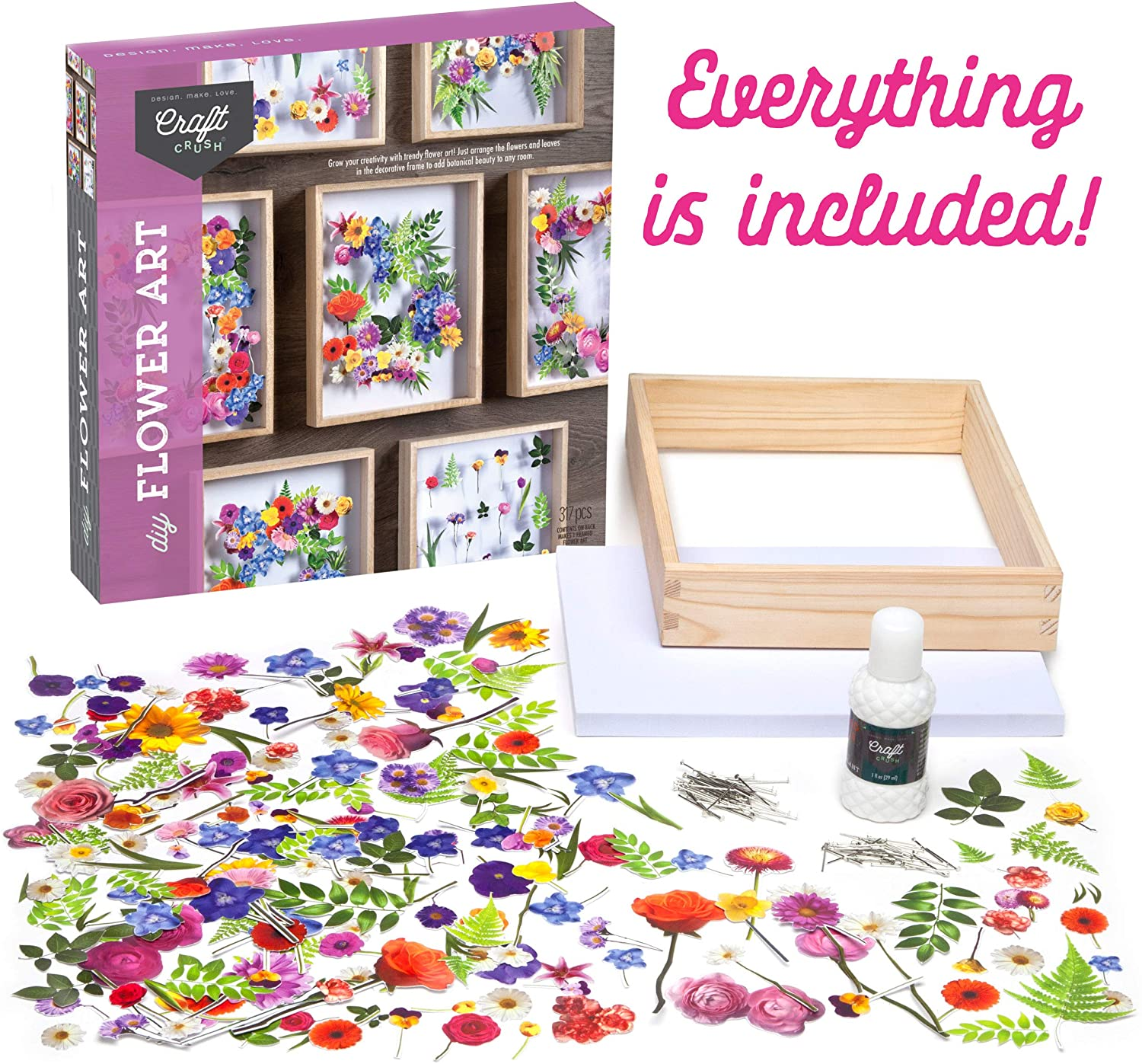 Materials included in Flower Art Craft Kit