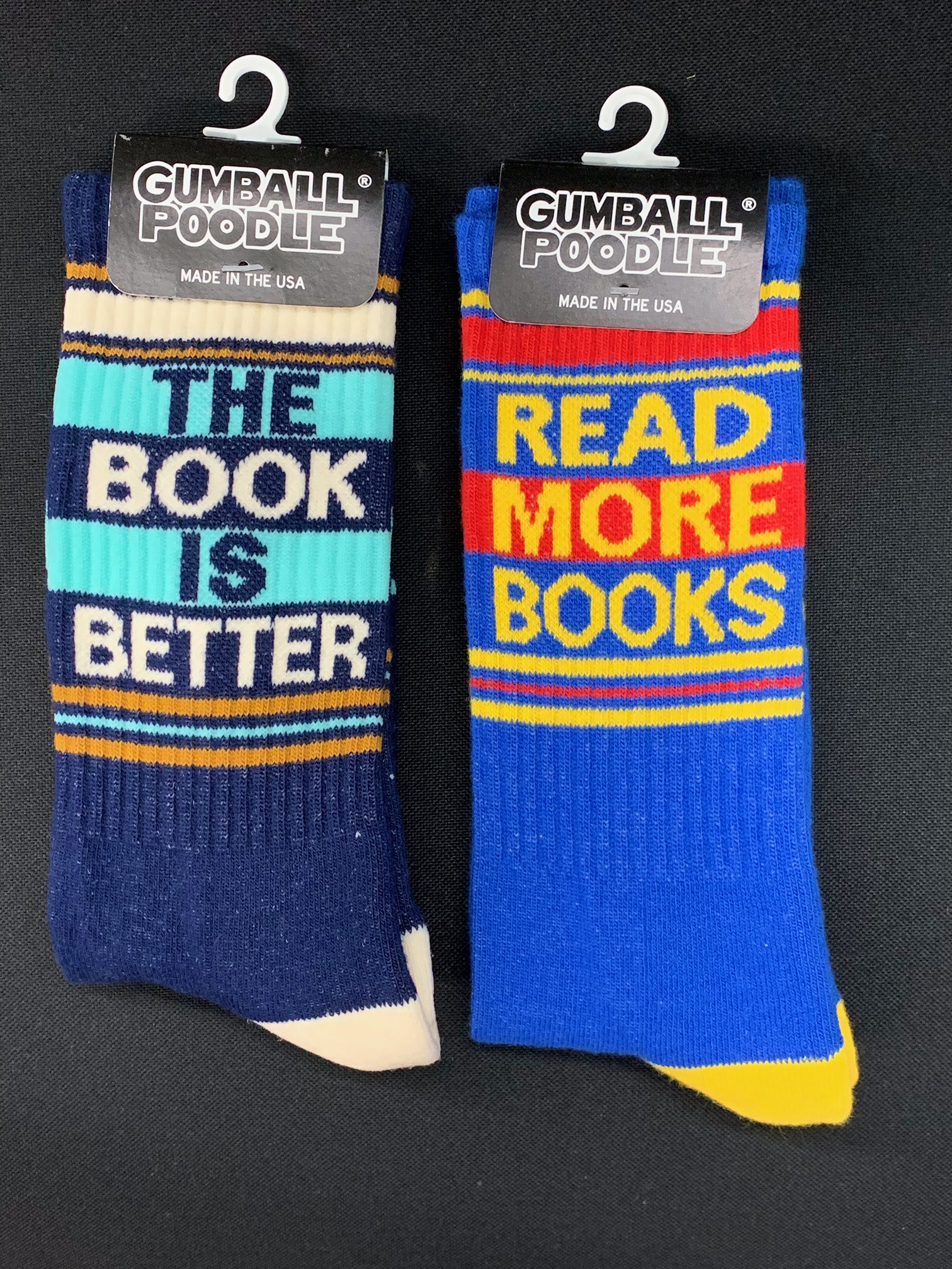 Two pairs of unisex book-themed socks