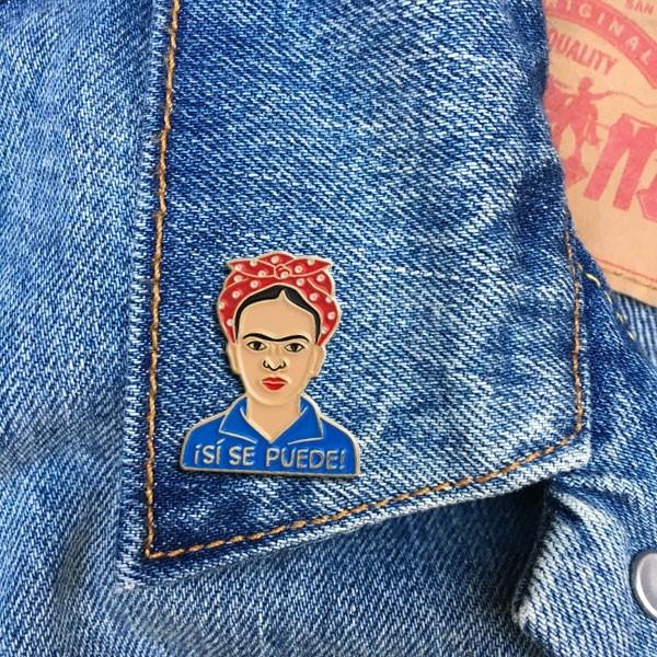 Frida pinned onto a lapel
