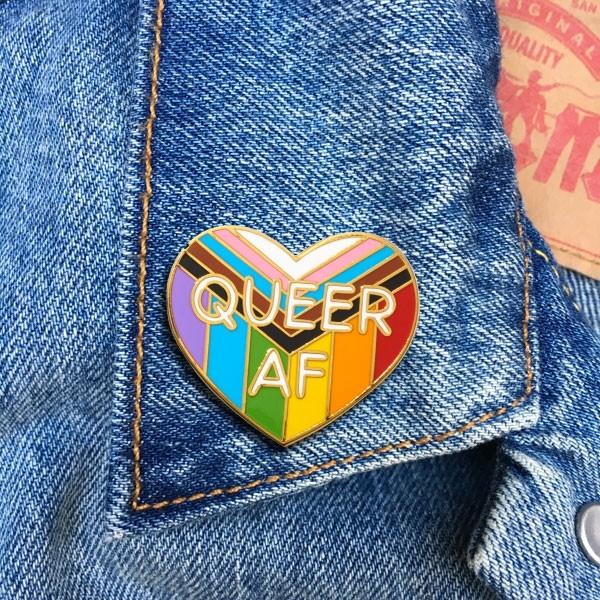 Queer AF Rainbow Enamel Pin