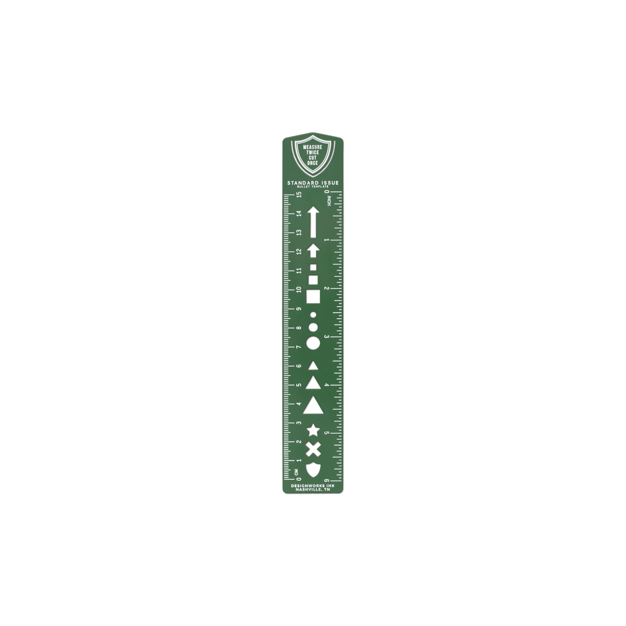 Green Ruler Bookmark with Bullet Template