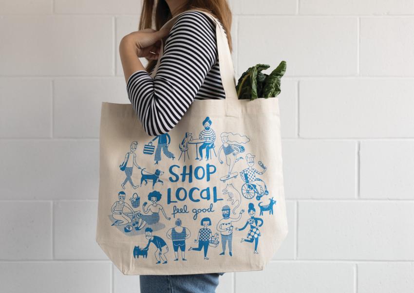 Shop Local tote bag in action