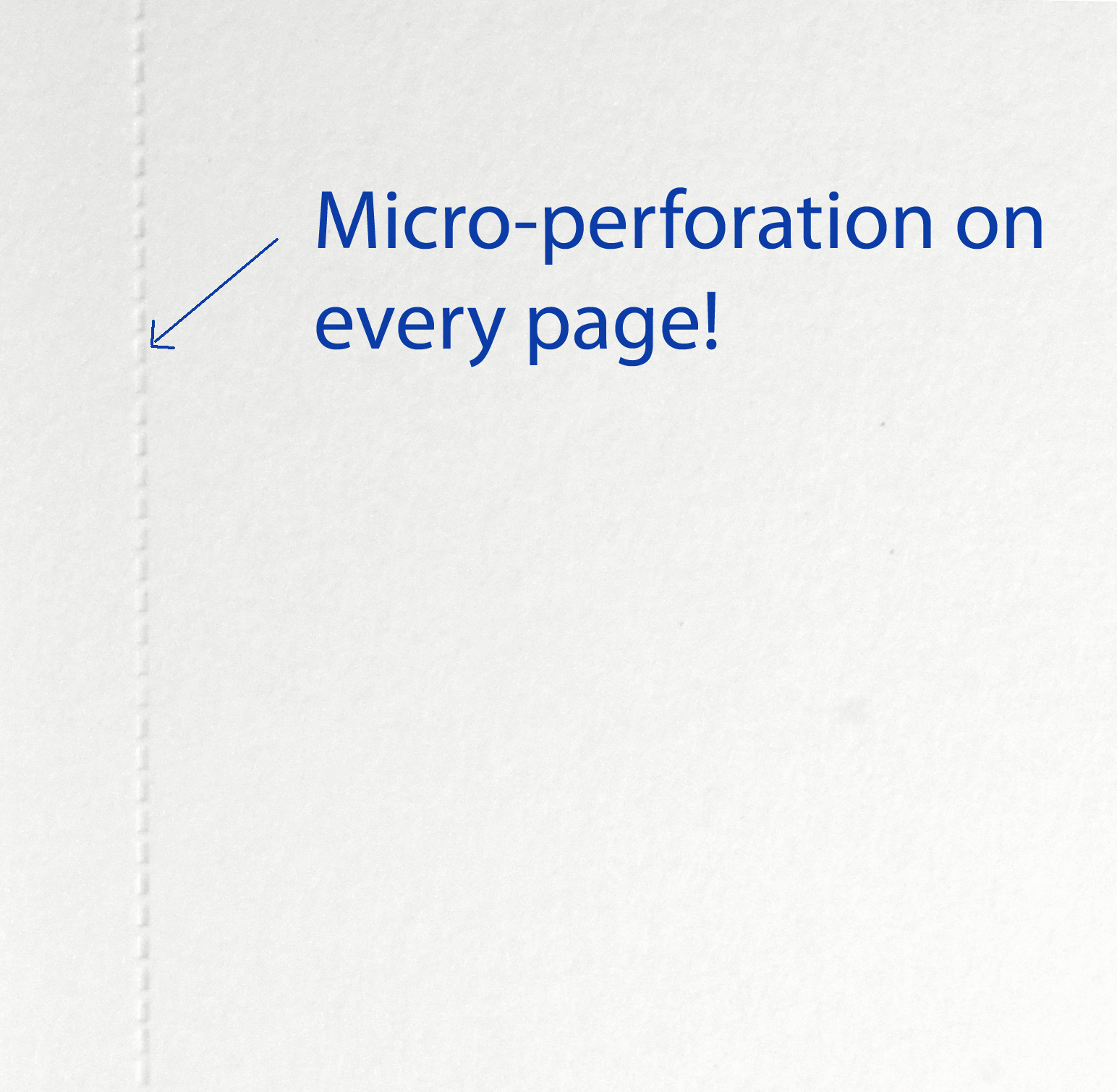 View of micro-perforation on pages