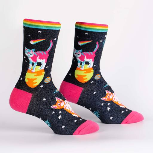 Space Cats Women's Crew Shimmer Socks