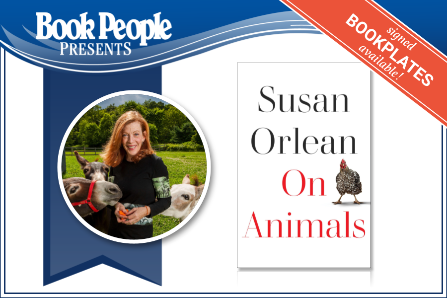 Susan orlean event graphic with author photo and jacket image