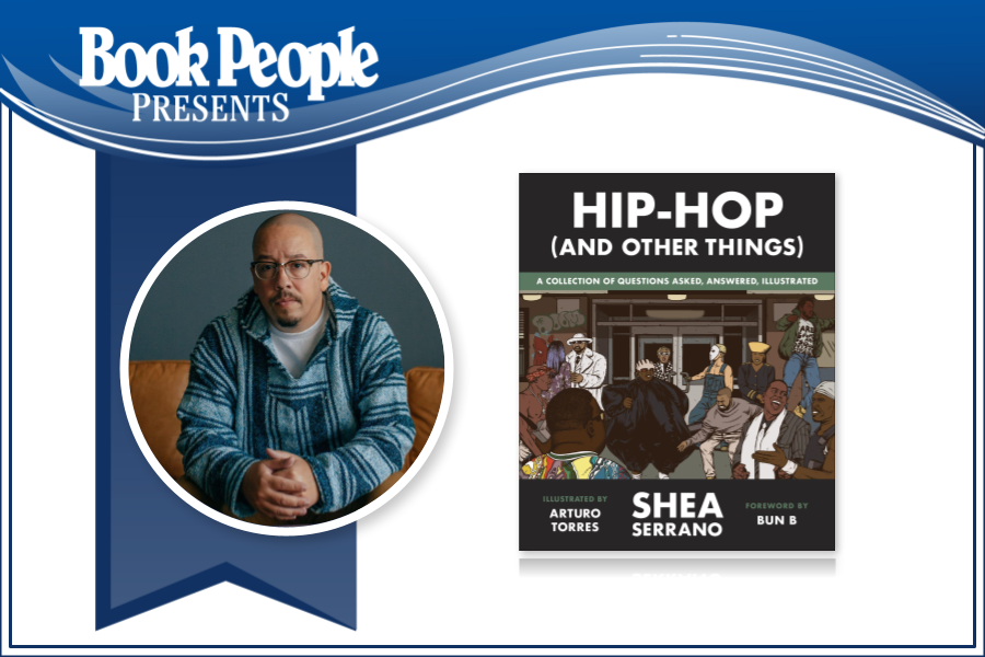Shea Serrano event graphic with author photo and cover image