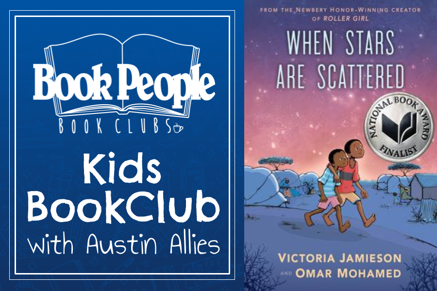 Kids Book Club banner contains When Stars Are Scattered book cover