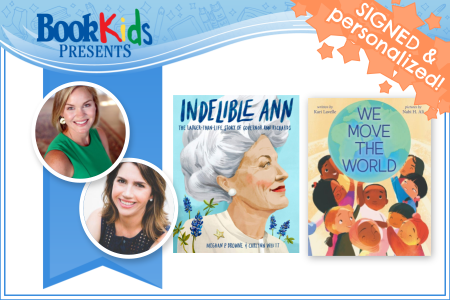 Meghan Browne Kari Lavelle virtual storytime banner contains author photos and book covers