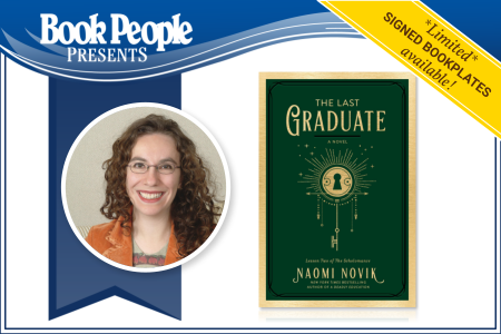 """Image of Author Naomi Novik and book cover for """"The Last Graduate"""""""