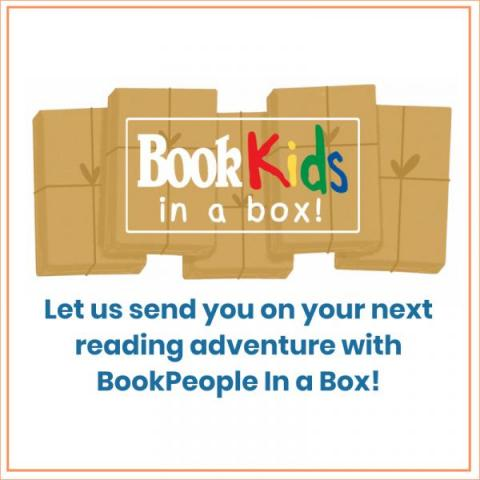 """BookKids in a Box logo. Text reads """"Let us send you on your next reading adventure with Bookpeople in a Box!"""""""
