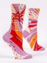 I'm A Girl What's Your Super Power Socks Women's Crew Fit