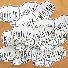 Book Worm knuckles sticker