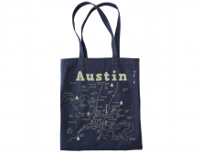 Austin Map Denim Tote Bag