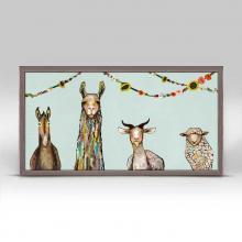 Donkey, Llama, Goat, Sheep with Garland framed canvas