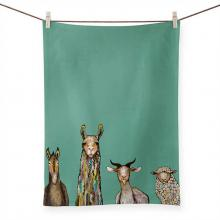 Donkey, Llama, Goat, Sheep Tea Towel Artwork by Eli Halpin