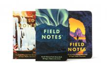 3 covers feature a waterfall, aurora borealis, and a stone arch