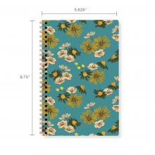 Flowers on Teal Floral Spiral Notebook