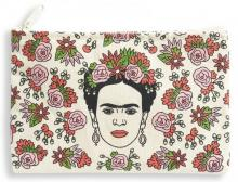 Frida Kahlo with Flowers Canvas Zipper Pouch