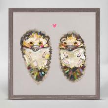 Hedgehog Love on Soft Gray framed canvas