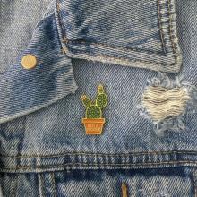 Not a Hugger Cactus Enamel Pin