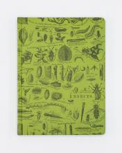 Front cover: Green with scientific drawings of insects