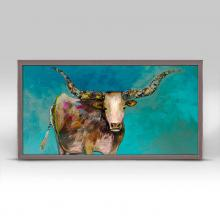 Longhorn Geode with Tail Framed Canvas