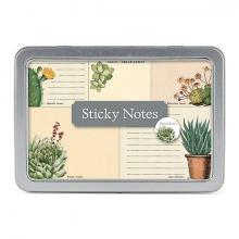 Succulents Sticky Note Set in tin