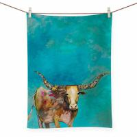 Standing Longhorn Tea Towel Artwork by Eli Halpin