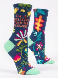 I'm A Delicate Fucking Flower Socks Women's Crew Fit