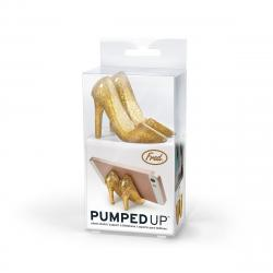 Glittery Gold Heels Pumped Up Phone Stand in packaging