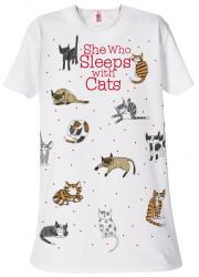 She Who Sleeps With Cats Sleep Shirt