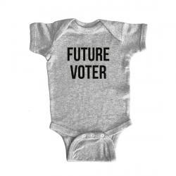 Future Voter gray baby onesie
