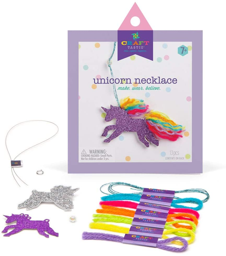 Materials included in Unicorn Necklace Craft Kit